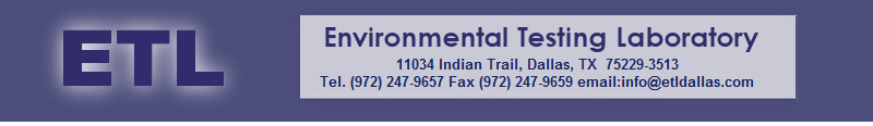 Environmental Testing Laboratory (ETLDallas), 11034 Indian Trail, Dallas TX